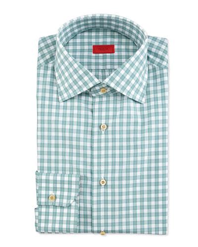 Box-Check Woven Dress Shirt, Soft Green