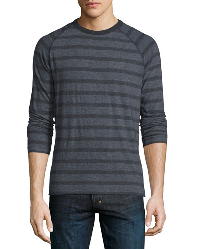 Indian Striped Crewneck Sweater, Navy