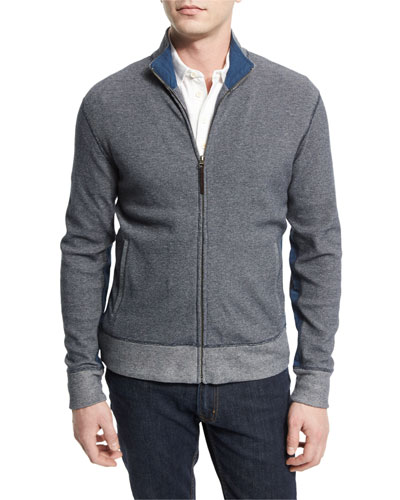 Textured Pique Knit Track Jacket, Navy