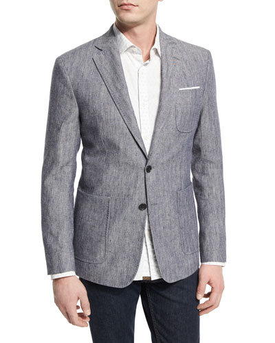 Rustin Textured Linen/Cotton Sport Coat, Blue