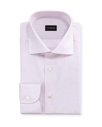 Check Woven Dress Shirt, Light Pink