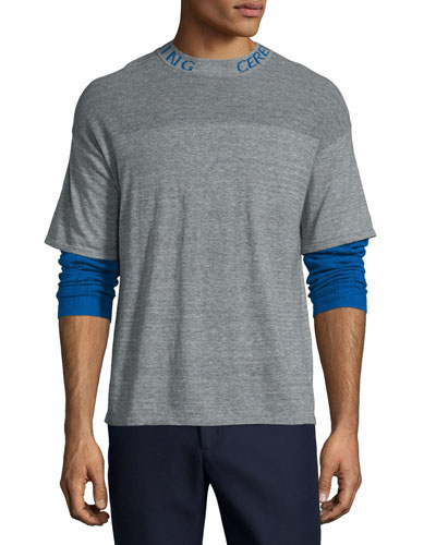 Double-Layer Thermal T-Shirt, Heather Gray/Multi