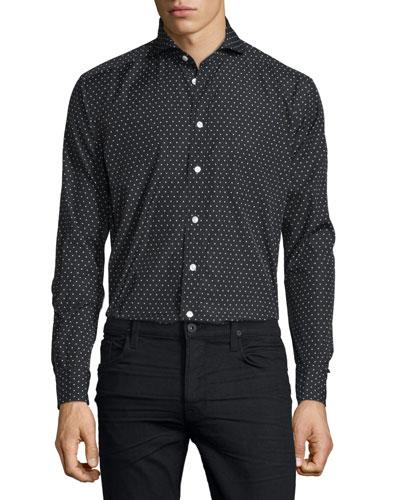 Dot-Print Long-Sleeve Sport Shirt, Blue/White