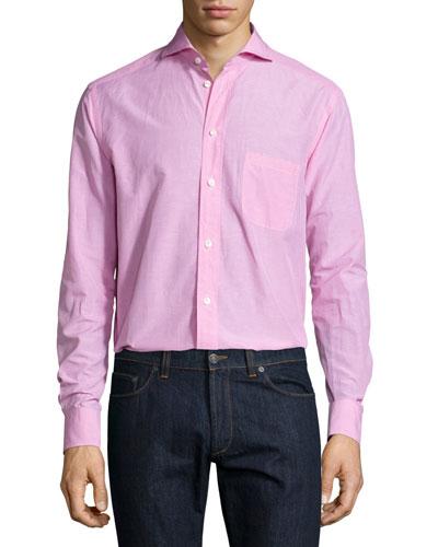 Micro-Gingham Long-Sleeve Sport Shirt, Pink