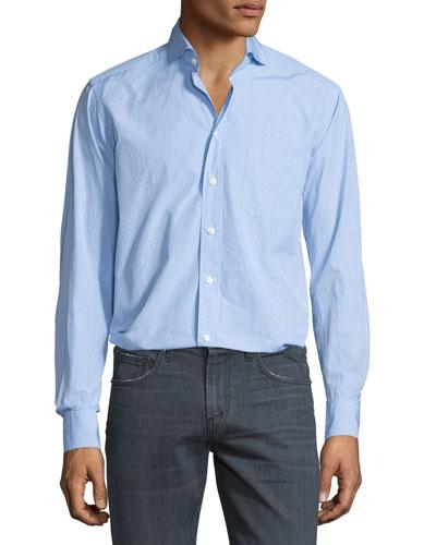 Dobby-Print Long-Sleeve Sport Shirt, Light Blue
