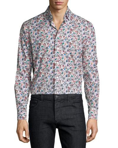 Wildflower-Print Long-Sleeve Sport Shirt, Multi