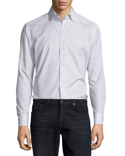 Mini Fish-Print Long-Sleeve Sport Shirt, White Pattern