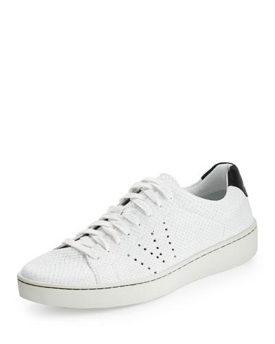 Simon Textured Leather Low-Top Sneaker, White
