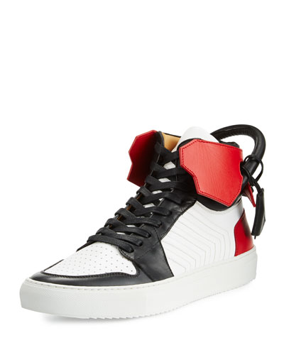110mm Men's Leather High-Top Sneaker, Black/White/Red