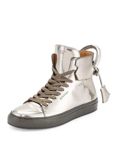 125mm Men's Metallic Leather High-Top Sneaker, Gunmetal