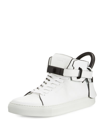 100mm Men's Leather High-Top Sneaker, White
