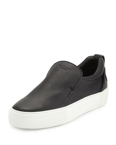 40mm Men's Leather Slip-On Sneaker, Black