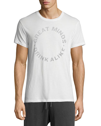 Great Minds Drink Alike Graphic Short-Sleeve T-Shirt, White