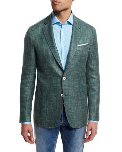 Textured Wool-Blend Blazer, Green