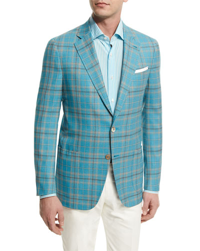 Plaid Two-Button Wool Jacket, Aqua