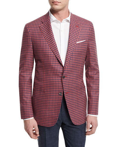 Check Two-Button Sport Coat, Red/Blue