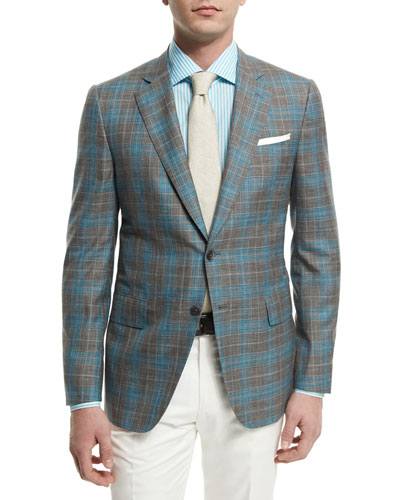 Plaid-Windowpane Two-Button Jacket, Gray/Aqua
