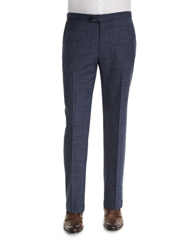 Gregory Wool-Blend Delave Flat-Front Trousers, Navy