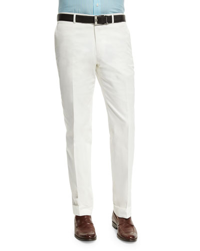 Gregory Flat-Front Cotton Trousers, White