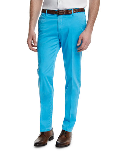 Flat-Front Cotton Trousers, Aqua