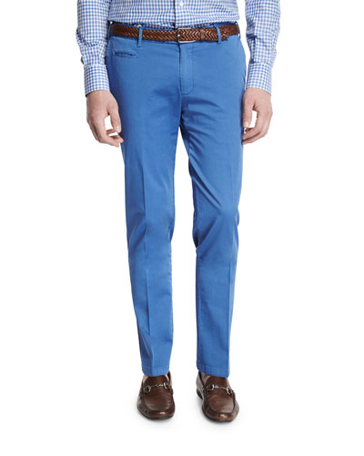 Flat-Front Cotton Trousers, Blue