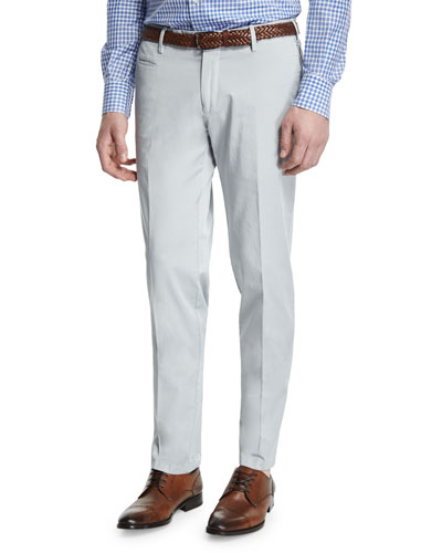 Gregory Flat-Front Cotton Trousers, Light Gray