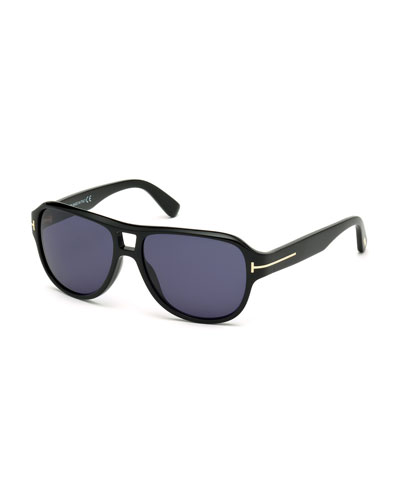 Dylan Men's Shiny Acetate Sunglasses, Black/Blue