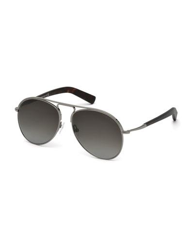 Cody Metal Aviator Sunglasses, Havana/Smoke