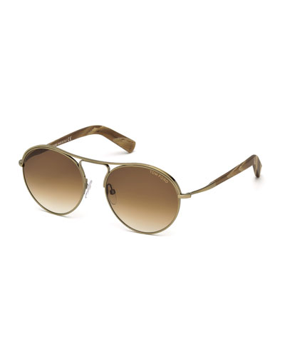 Jessie Rounded Aviator Sunglasses, Gold/Brown
