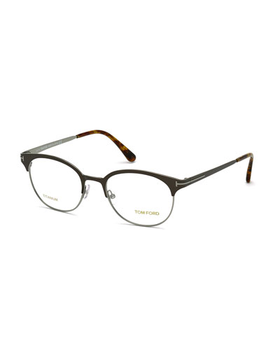 Light Titanium Round Eyeglasses, Dark Brown