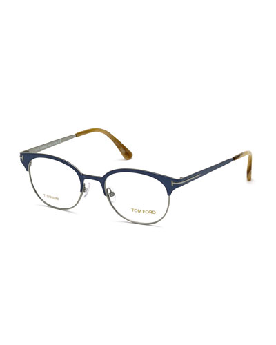 Titanium Round Eyeglasses, Blue/Honey