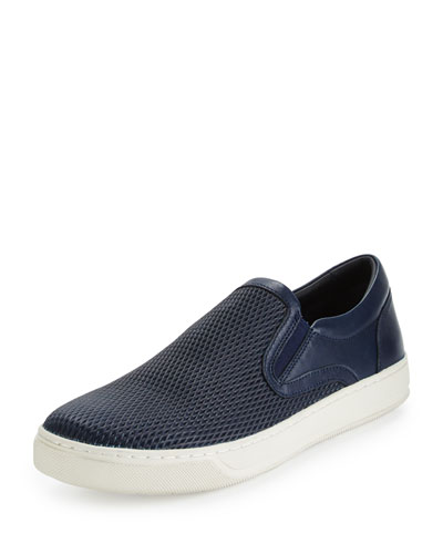 Ace Perforated Leather Slip-On Sneaker, Navy