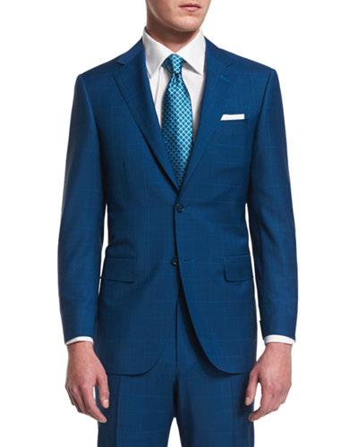 Sienna Tonal-Plaid Two-Piece Wool Suit, Aqua