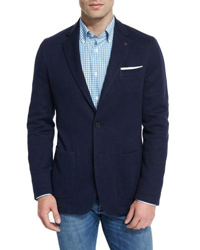 Jersey Pick-Stitch Two-Button Sport Coat, Navy