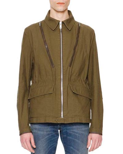 Zipper-Detail Military Jacket, Olive