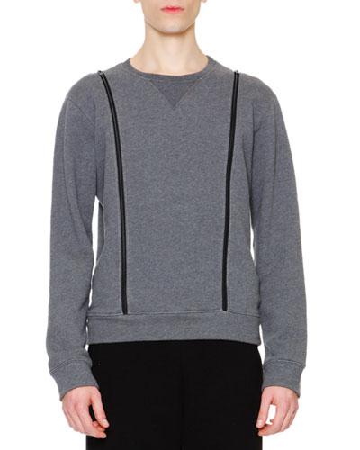 Crewneck Sweatshirt with Zipper Details, Gray