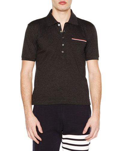 Short-Sleeve Pique Polo Shirt, Dark Gray