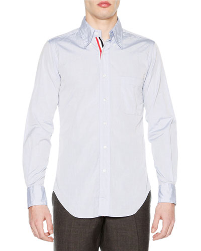 Classic Poplin Shirt with Striped-Placket, Blue