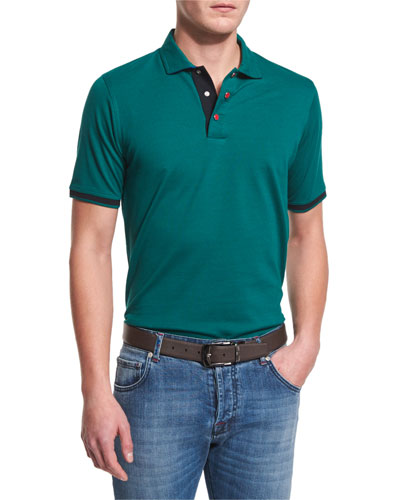 Short-Sleeve Snap-Placket Pique Polo Shirt, Green