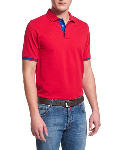 Short-Sleeve Snap-Placket Pique Polo Shirt, Red