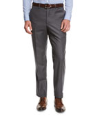 Flat-Front Twill Trousers, Charcoal