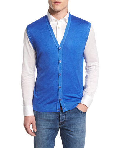 Cashmere-Blend Cardigan Vest, Royal