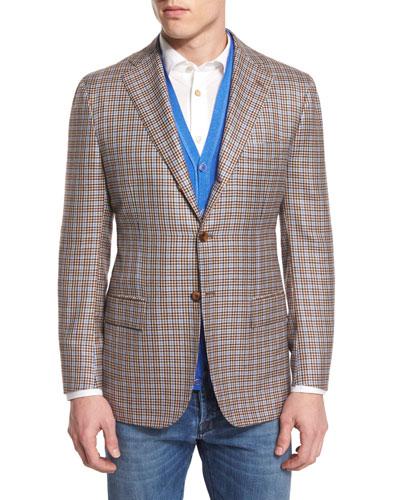 Cashmere-Blend Check Sport Coat, Tan