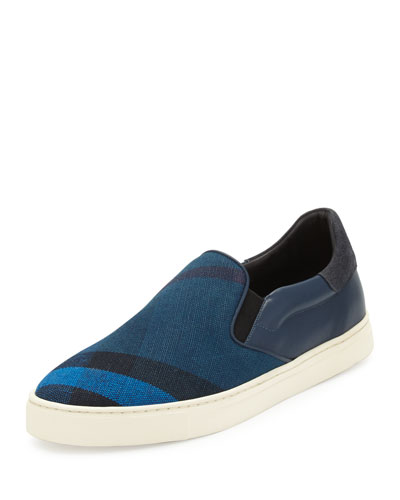 Copford Canvas Check & Leather Slip-On Sneaker, Blue/Black