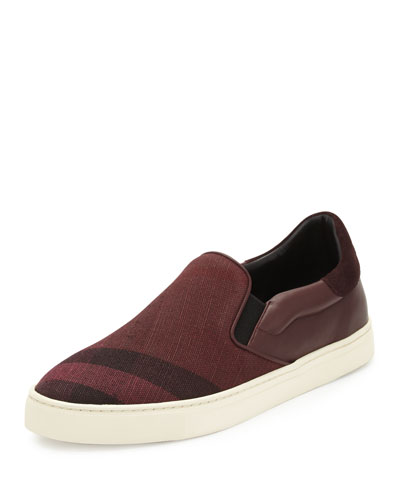 Copford Canvas Check & Leather Slip-On Sneaker, Claret