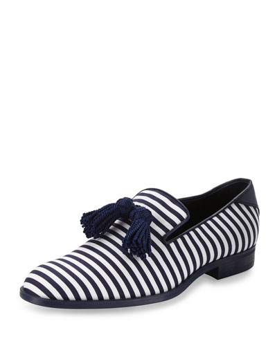 Foxley Men's Striped Tassel Loafer, Blue/White