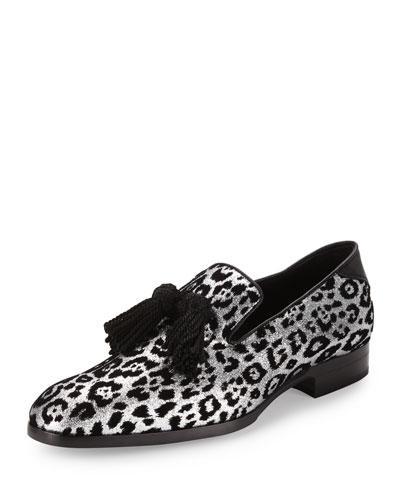 Foxley Men's Glitter Leopard-Print Tassel Loafer, Black/Silver