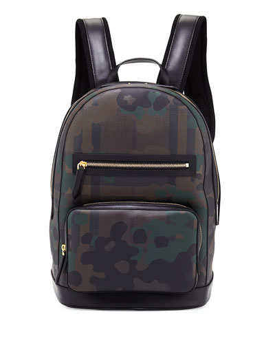 London Check Camouflage Backpack, Chocolate/Camo