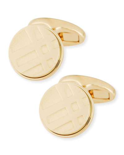 Check Engraved Round Cuff Links, Pale Gold