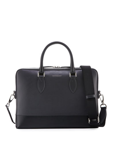 London Bi-Color Leather Briefcase, Charcoal/Black